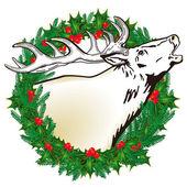 Deer in the wreath — Stock Vector