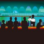 Bar en de barkeeper — Stockvector