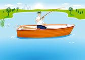 Fishing in Boat — Stock Vector
