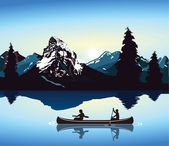 Canoeing and mountain scenery — Stock Vector