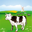 Cow in the pasture — Stock Vector #7815242