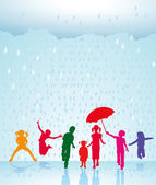 Happy children in the rain — Stock Vector