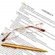 Legal contract papers with pen and glasses - Stockfoto