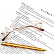 Legal contract papers with pen and glasses — Stock Photo