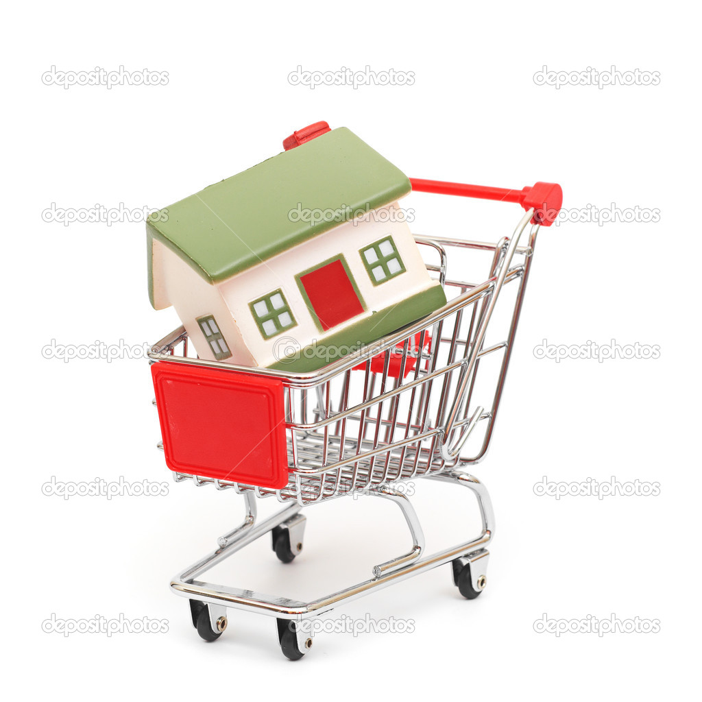  shopping cart trolley with house isolated on white  Stock Photo #6762670
