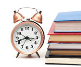 Clock and books — Stock Photo