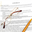 Stock Photo: Legal contract papers with pen