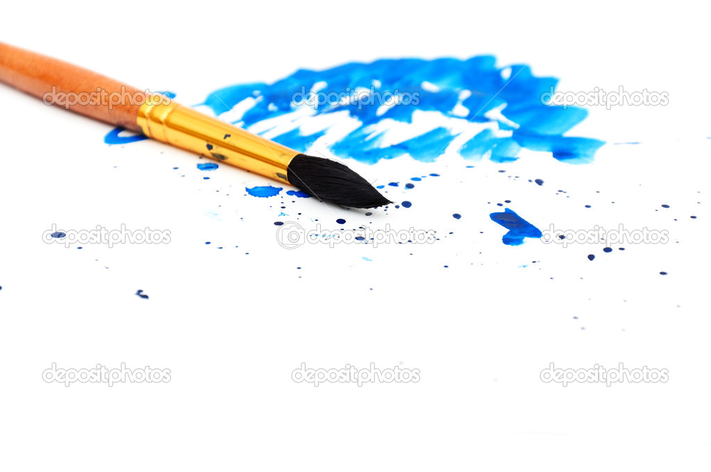 Brush with blue paint stroke and stick, isolated on white — Stock Photo #6956807