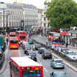 Bussy Traffic in Central London, Euston Road near King's Cross a — Stock Photo