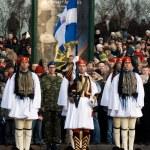 Greek Color Guard at Military parade — Stock Photo
