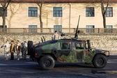 Army truck at military parade — Stock Photo
