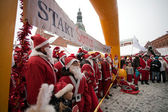 Santas Fun Run & Walk in Riga, Latvia — Stock Photo