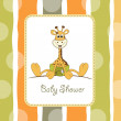 New baby announcement card with baby giraffe — Stock Photo #6772381