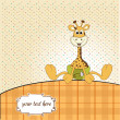 Постер, плакат: New baby announcement card with baby giraffe
