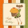 Happy Birthday card with girl and cupcake — Stock Photo #6773151