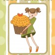 Happy Birthday card with girl and cupcake — Stock Photo #6773156