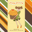 Happy Birthday card with girl and cupcake — Stockfoto