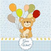 テディー ・ ベア、風船と新しい赤ちゃんお知らせカード — ストック写真