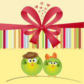 Greeting card with birds — Foto de Stock
