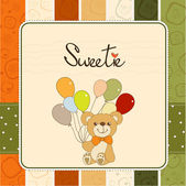 Greeting card with teddy bear — Stock Photo