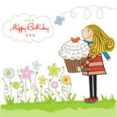 Alles Gute zum Geburtstag-Karte mit Mädchen und cupcake — Stockfoto