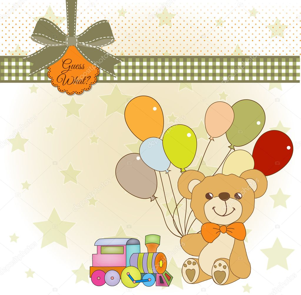 New baby announcement card with teddy bear and balloons  Stock Photo #6772470