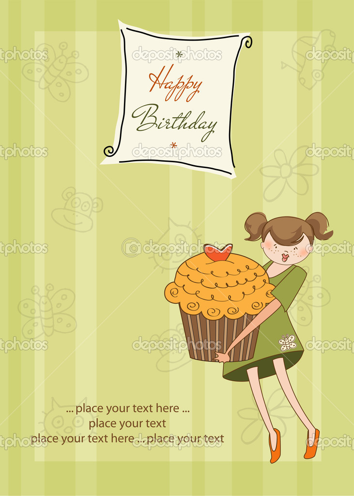 Happy Birthday card with girl and cupcake — Stock Photo #6773162