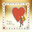 Happy birthday card with a girl - Foto de Stock  