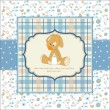 Baby shower card with puppy toy - Stock Photo