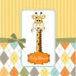 Greeting card with giraffe - Stock Photo