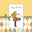 Happy Birthday card with girl and cupcake - Foto de Stock  