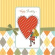 Happy birthday card with a girl in love  — Stock Photo