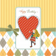 Happy birthday card with a girl in love — Stok fotoğraf