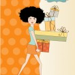 Birthday card - pretty young lady with arms full of gifts — Stock Photo #7202089
