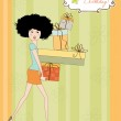 Birthday card - pretty young lady with arms full of gifts — Stock Photo #7202102