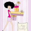 Birthday card - pretty young lady with arms full of gifts — Stock Photo