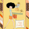 Birthday card - pretty young lady with arms full of gifts — Stock Photo #7202163