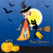 Halloween witch background - Stockfoto