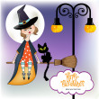 Halloween witch background — Stok fotoğraf