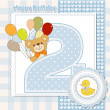 Teddy bear with balloons and number 2 — Stock Photo