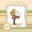 Happy Birthday card with girl and cupcake — Stock Photo