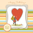 Stock Photo: Happy birthday card with a girl in love