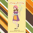 Pretty girl with gift and flowers. birthday card — Stock Photo #7202616