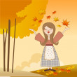 Autumn girl with apples and pumpkins — 图库照片 #7202802