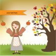 Autumn girl with apples and pumpkins — Stock Photo
