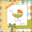 Stock Photo: Baby shower invitation with pram