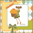 Happy Birthday card with girl and cupcake — Stock Photo #7202948