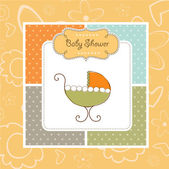 Baby shower announcement card with pram — Stock Photo
