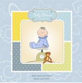 Greeting card with baby boy on scales — Stock Photo