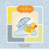 Baby card with duck and umbrella — Stock Photo